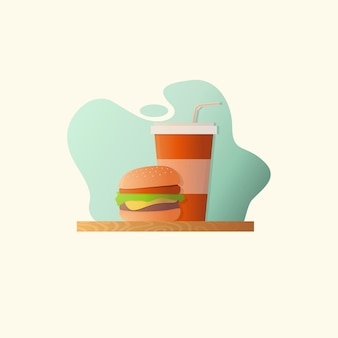 Ilustración de comida rápida con hamburguesa y coca cola