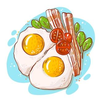 Ilustración de comida reconfortante con huevos y tocino