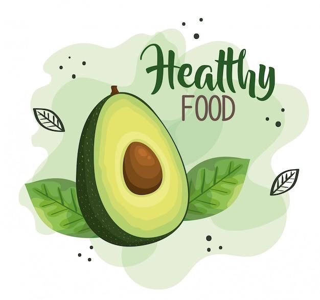 Ilustración de comida saludable con aguacate