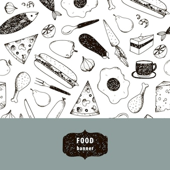 Ilustración de comida vintage, pancarta dibujada a mano, tarjeta, volante con patrón blanco y negro. queso, pizza, huevo, pollo, zanahoria, etc.