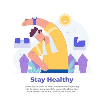 Ilustración de cómo mantener la salud desde casa durante una pandemia.