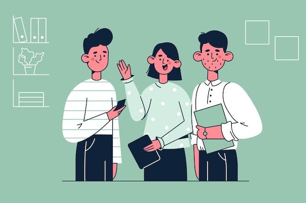 Ilustración de compañeros de trabajo en equipo de socios comerciales