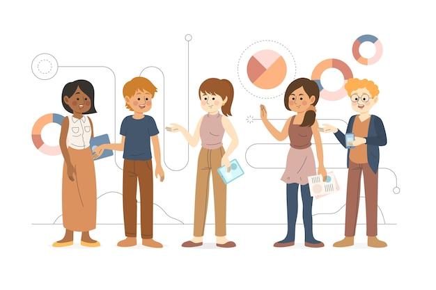 Ilustración de compañeros de trabajo de negocios