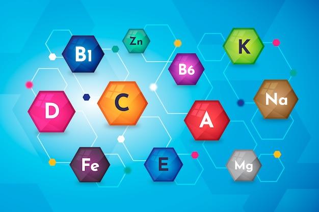 Ilustración compleja de vitaminas y minerales esenciales