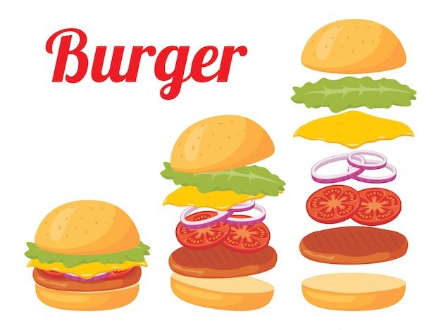 Ilustración completa de hamburguesa