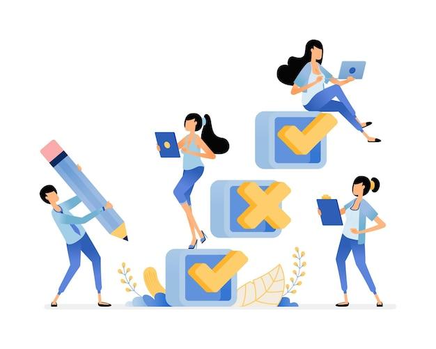 Ilustración de completar encuestas y cuestionarios