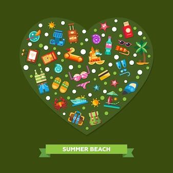 Ilustración de la composición del corazón de los modernos iconos de vacaciones de viajes junto al mar y elementos de infografía