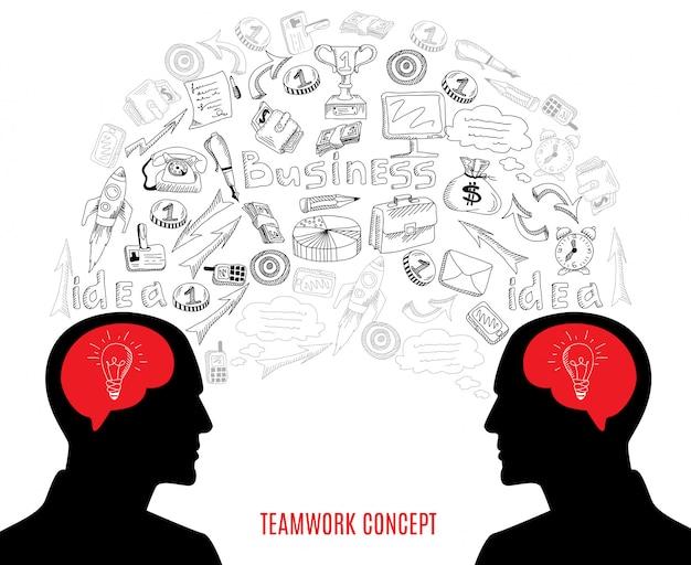 Ilustración de la composición de los iconos del concepto del trabajo en equipo del negocio