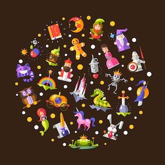Ilustración de la composición de los iconos y elementos mágicos de los cuentos