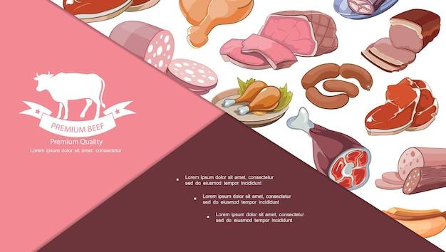Ilustración de composición de productos cárnicos frescos de dibujos animados