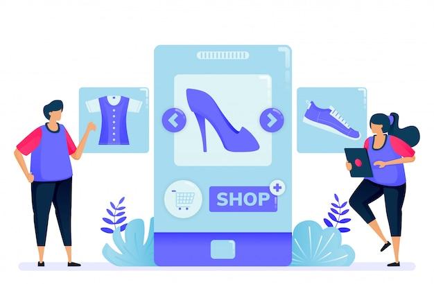 Ilustración para comprar con aplicaciones móviles para productos de moda. abra una tienda y conviértase en vendedor con aplicaciones.