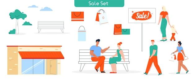Ilustración de compras y compradores establecidos. chica tiene muchas compras, mujer con niño caminando, pareja hablando. edificio de la tienda, banco, paquetes, letrero de venta, objetos de clientes de personajes