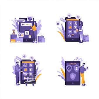 Ilustración de compras en línea de aplicaciones móviles, calificación, compras, pagos