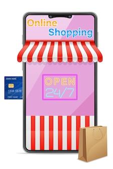 Ilustración de compras en línea de concepto de teléfono inteligente aislado sobre fondo blanco