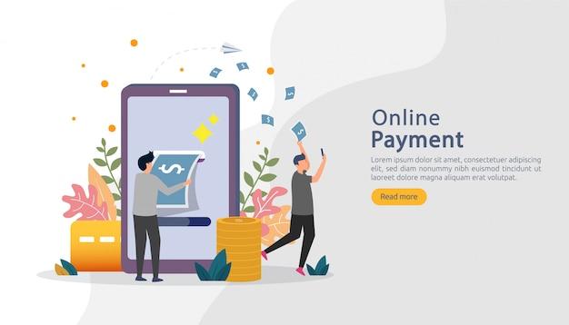 Ilustración de compras en línea de mercado de comercio electrónico con carácter de personas pequeñas. pago móvil o transferencia de dinero