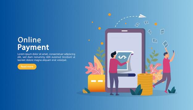 Ilustración de compras en línea de mercado de comercio electrónico con carácter de personas pequeñas.