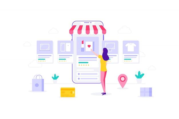 Ilustración de compras en línea móvil de mujer de comercio electrónico
