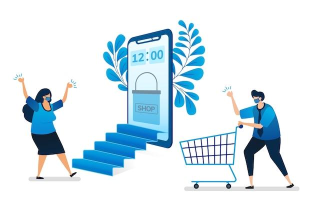 Ilustración de compras en línea con nuevo protocolo de salud normal con aplicaciones móviles, tienda móvil virtual.