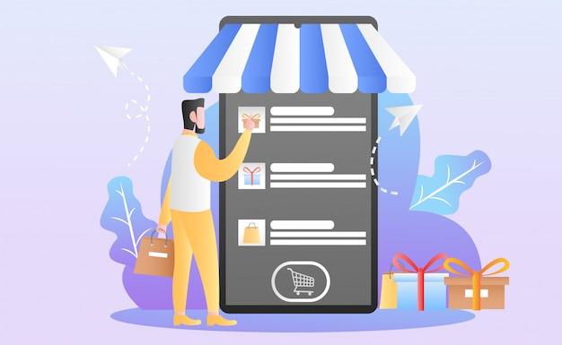Ilustración de compras en línea plana