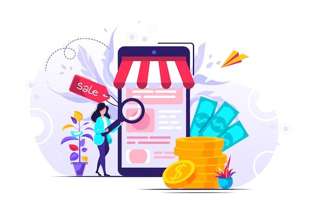 Ilustración de compras en línea