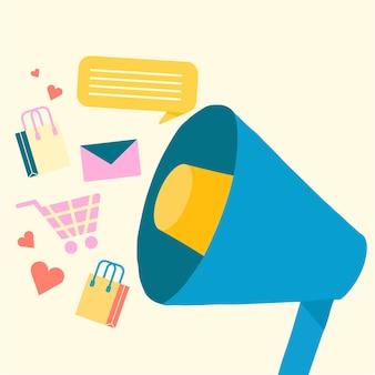 Ilustración de compras online en estilo plano