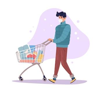 Ilustración de compras pandémicas un hombre camina con un carrito de compras lleno de alimentos las bacterias vuelan alrededor