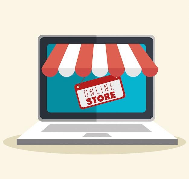 Ilustración de compras en la tienda en línea