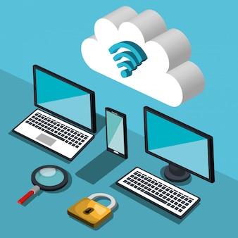 Ilustración de computación en la nube