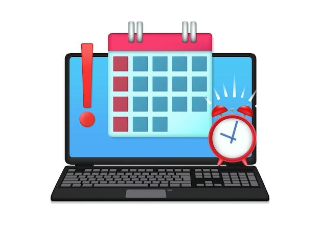 Ilustración de computadora portátil con calendario de fecha límite y reloj despertador
