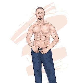 Ilustración común de la silueta del oro del hombre del atleta en un fondo blanco.