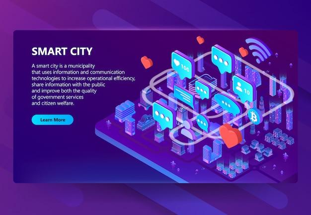 Ilustración de comunicación de ciudad inteligente