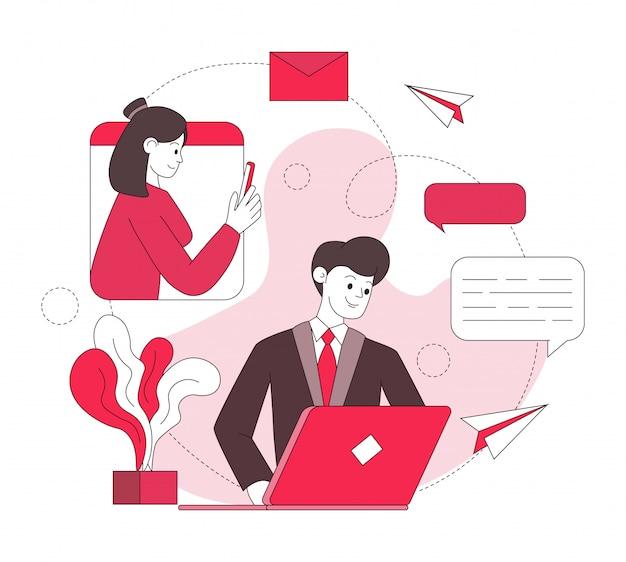 Ilustración de comunicación por internet