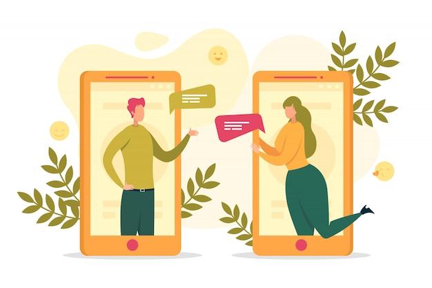 Ilustración de comunicación en línea de personas