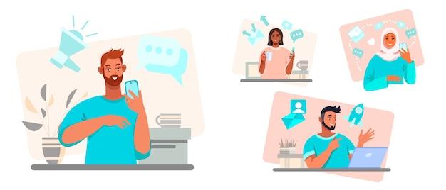 Ilustración de comunicación en línea y trabajo en equipo con diversas personas multinacionales