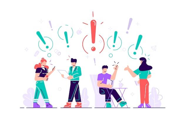 Ilustración de comunicación de personas en busca de ideas. resolución de problemas uso en proyectos web y aplicaciones. ilustración de estilo plano para página web, redes sociales, documentos, tarjetas.