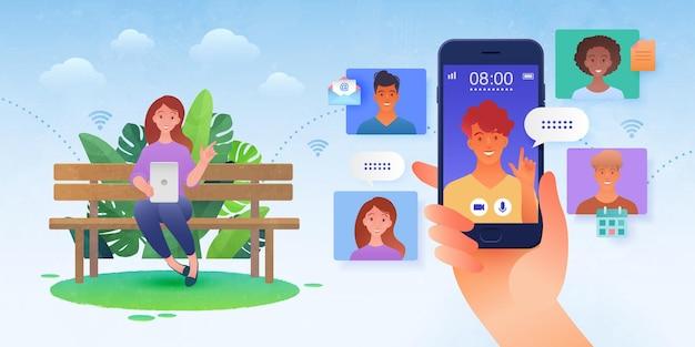 Ilustración de comunicación virtual en línea con una mujer sentada en un parque haciendo videollamadas a amigos