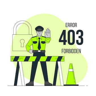 Ilustración del concepto de403 error prohibido (con la policía)