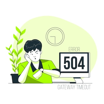 Ilustración del concepto de504 error tiempo de espera de puerta de enlace
