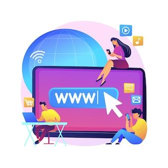 Ilustración de concepto abstracto de adicción a internet. sustitución de la vida real, trastorno de vida en línea, adicción a la web, comportamiento adictivo digital, uso excesivo de internet, redes sociales.