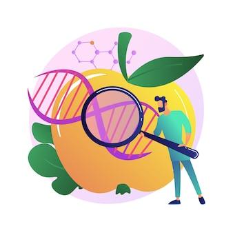 Ilustración de concepto abstracto de alimentos genéticamente modificados. organismo genéticamente modificado, industria alimentaria transgénica, producto biotecnológico, problema de salud, seguridad nutricional, riesgo de enfermedad.