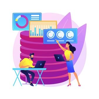 Ilustración de concepto abstracto de análisis de datos grandes. big data mining, sistema de analítica automatizada, análisis de información, reconocimiento de patrones, sistematización de información.