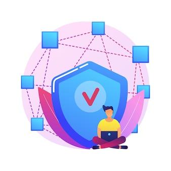 Ilustración de concepto abstracto de aplicación descentralizada. aplicación digital, blockchain, red informática p2p, aplicación web, múltiples usuarios, criptomoneda, código abierto.