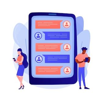 Ilustración de concepto abstracto de aplicación de mensajería