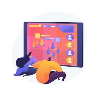 Ilustración de concepto abstracto de arena de batalla en línea multijugador