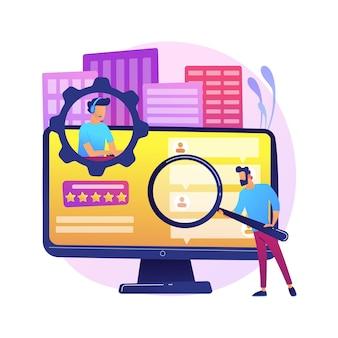 Ilustración de concepto abstracto de autoservicio de cliente. sistema de soporte electrónico, cliente proactivo electrónico, asistencia en línea, base de conocimientos de preguntas frecuentes, tienda gratuita representativa