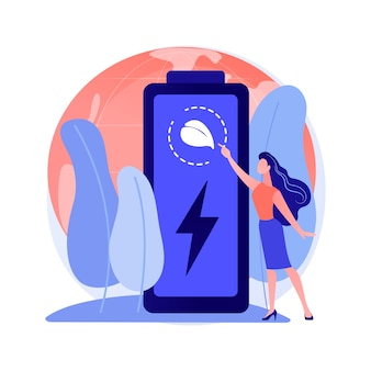 Ilustración de concepto abstracto de batería ecológica