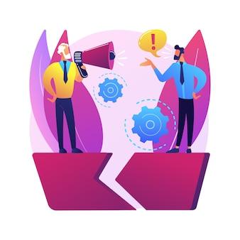 Ilustración de concepto abstracto de brecha de comunicación. intercambio de información, comprensión, comunicación efectiva, lenguaje corporal, sentimientos y expectativas, relación.