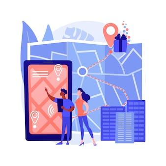 Ilustración de concepto abstracto de búsqueda de ciudad interactiva