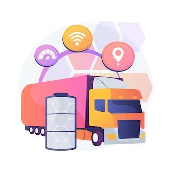 Ilustración de concepto abstracto de camiones eléctricos