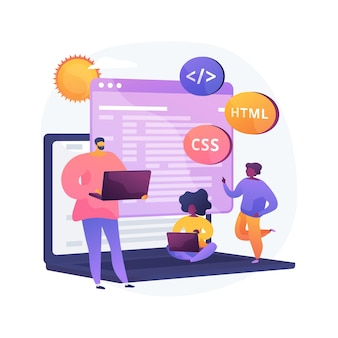 Ilustración de concepto abstracto de campamento de programación informática